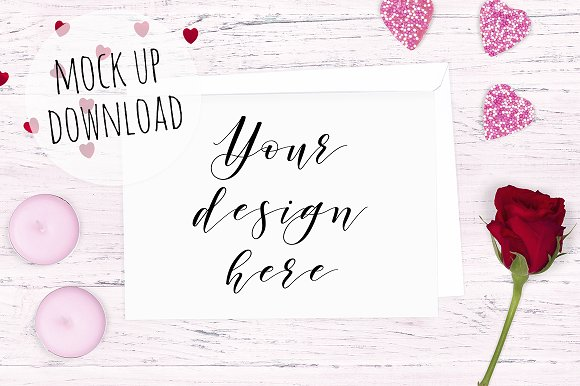 Pretty Valentines Card Mockup Product Mockups Creative Market