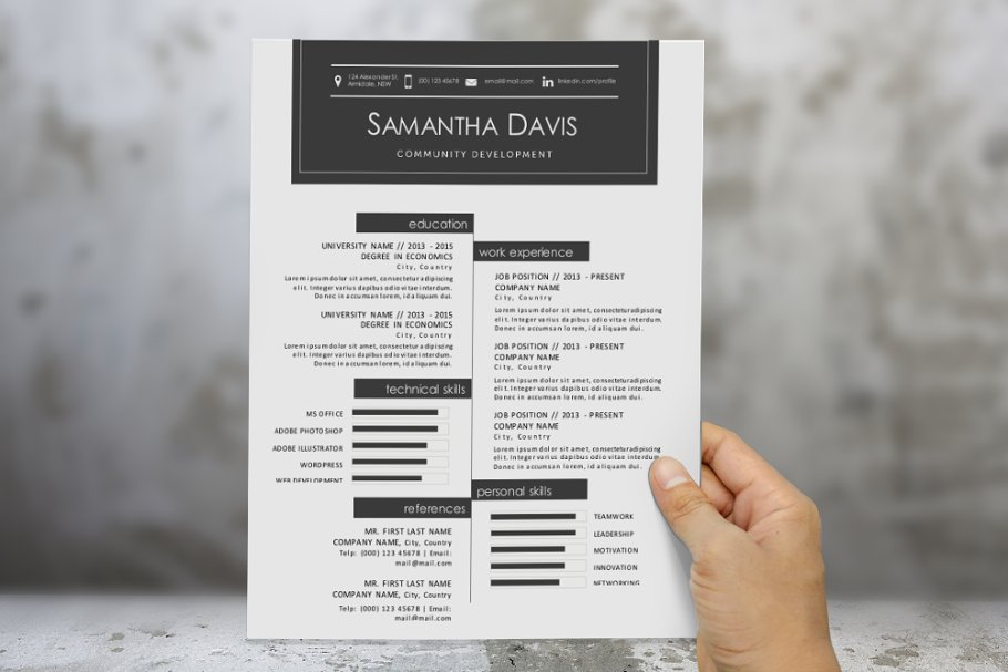 2 in 1 icon modern Word resume in Resume Templates - product preview 8