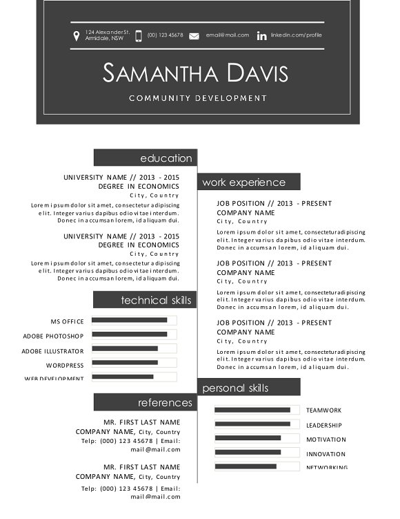 2 in 1 icon modern Word resume in Resume Templates - product preview 1