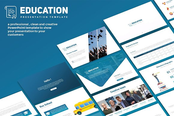 education powerpoint template presentation templates creative market