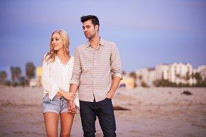 couple on beach at dusk