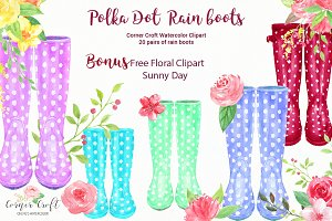 Polka Dot Rain Boots, Wellies