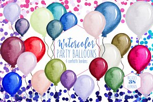 Watercolor Balloons & Confetti Set