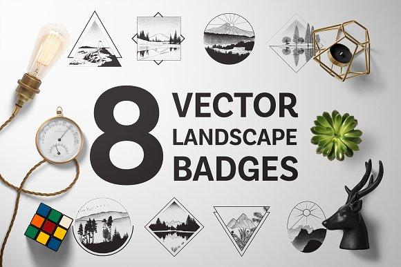 8 Vector Landscape Badges