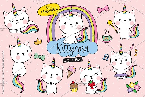 Cute White Cat Unicorn Vector