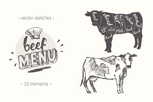 Design elements for a beef menu