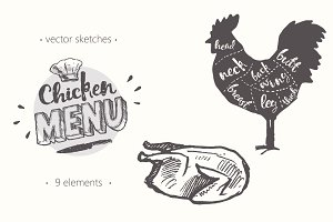 Design elements for a chicken menu