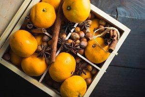 Organic tangerines  on rustic table