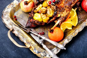 roast duck and oranges