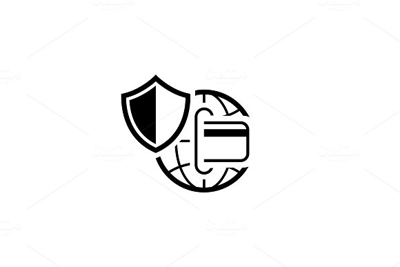 Global Safety Payment Icon. Flat Design.