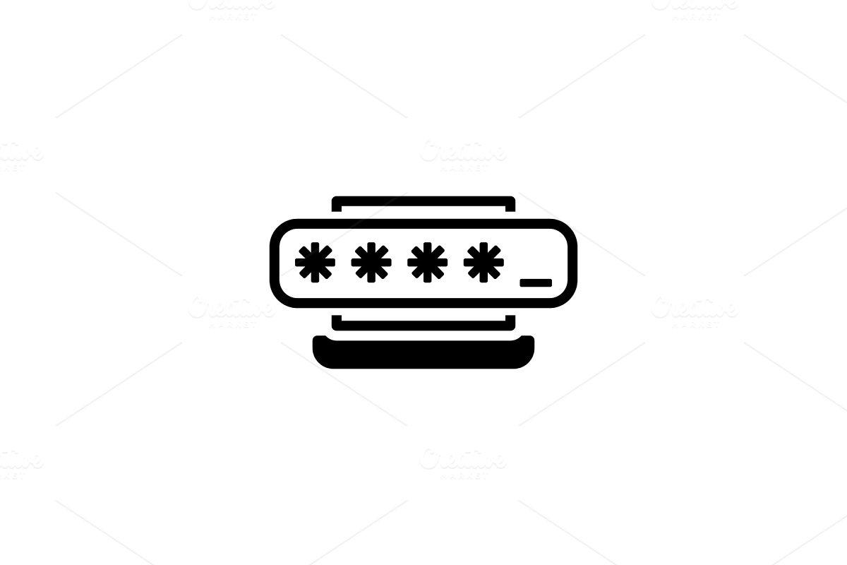 Access Password Icon. Flat Design.