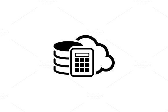 Secure Cloud Storage Icon. Flat Design.