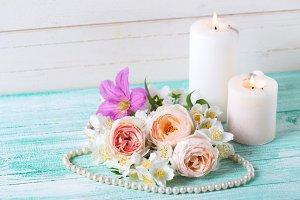 Sweet pastel  roses, jasmine flowers