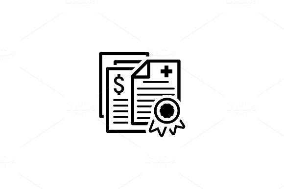 Health Insurance Policy Icon. Flat Design.