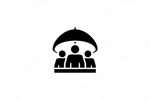 Group Life Insurance Icon Flat Design