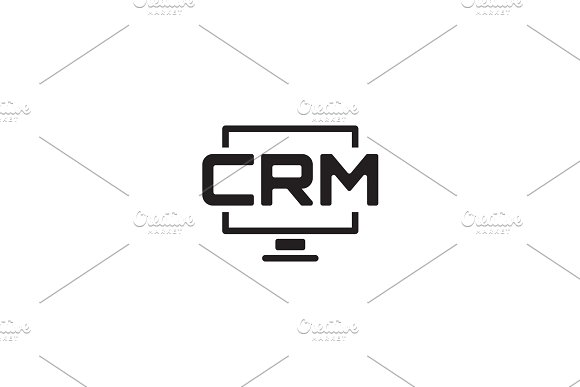 Desktop CRM System Icon Flat Design