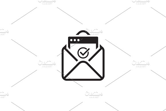 Confirmation Letter Icon. Flat Design.