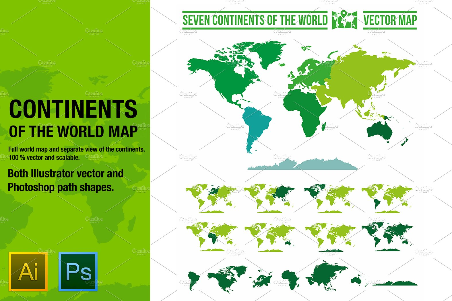 Continents vector world map ~ Graphic Objects ~ Creative Market