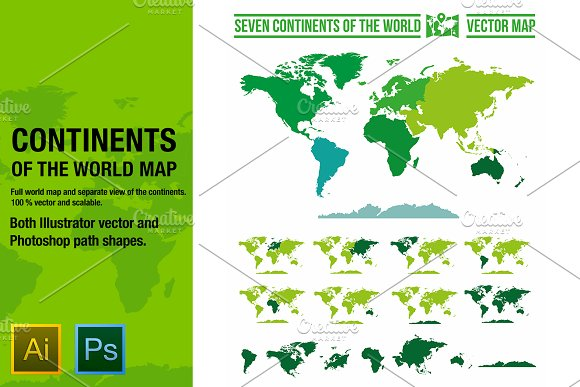 Continents vector world map objects creative market continents vector world map objects gumiabroncs Choice Image