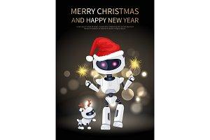 Merry Christmas Robot and Dog Vector Illustration
