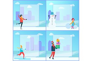 Figure-skating and Cityscape Vector Illustration