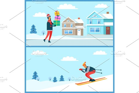 Skier and Man Holding Presents Vector Illustration