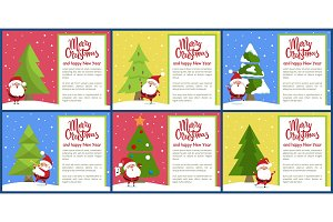 Merry Christmas and Santa Set Vector Illustration
