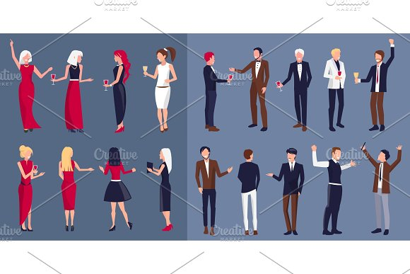 Women and Men Icons Separated Vector Illustration