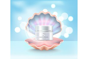 Cosmetic Cream Jar in Shell Vector Illustration