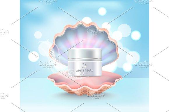 Cosmetic Cream Jar in Shell Vector Illustration