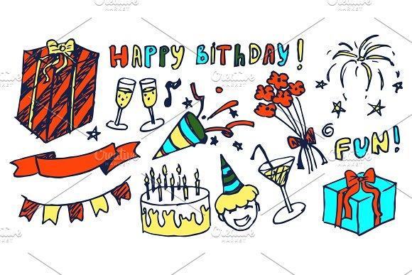 Happy Birthday and Fun Set Vector Illustration