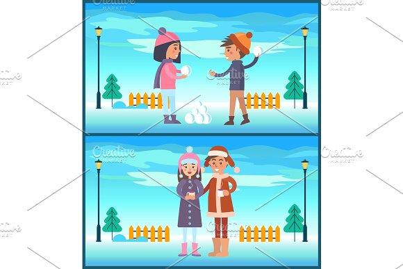 Happy Boy Girl Play Snowballs, Couple Drink Coffee