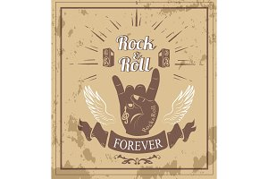 Rock'n'roll Forever Ribbon Vector Illustration