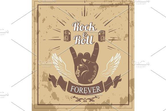 Rock'n'roll Forever Ribbon Vector Illustration