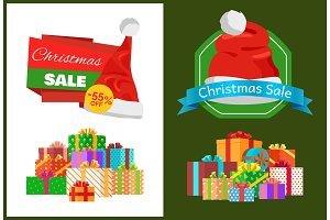 Christmas Sale Promo Sticker with Hat, Advert Text
