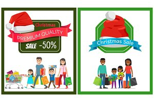 Pair of Christmas Sale Cards Vector Illustration