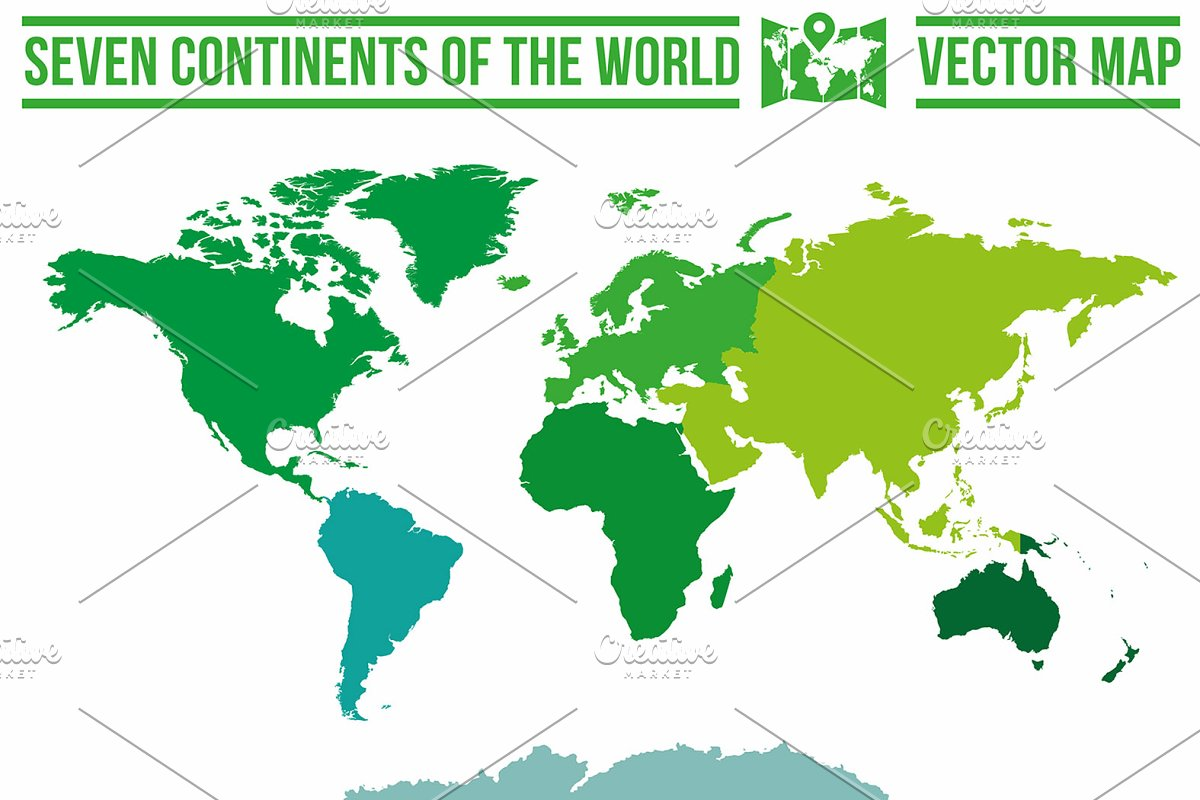 Map Of World Vector.Continents Vector World Map Graphic Objects Creative Market