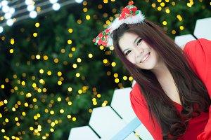 Santa woman dressed