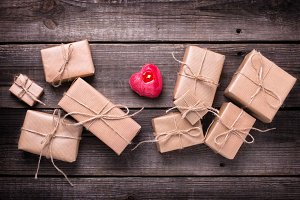 Festive gift boxes with presents