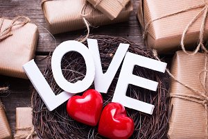 Word love and two hearts in nest
