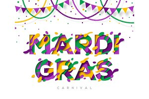 Carnival Mardi Gras greeting card with typography design