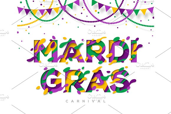 Carnival Mardi Gras greeting card with typography design in Illustrations