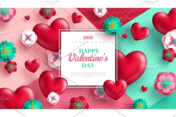 Valentines day background with hearts and paper cut flowers ...