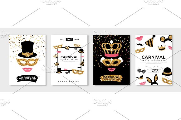 Carnival Gold And Black Posters Set