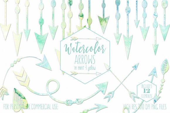 Mint Watercolor Arrow Graphics