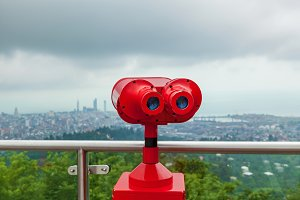 binocular in the background of the city