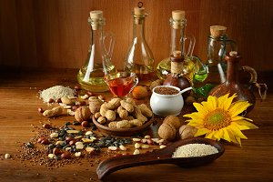 Still life seeds and oils