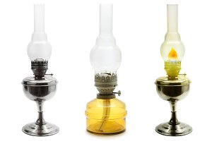 Set old vintage kerosene lamps