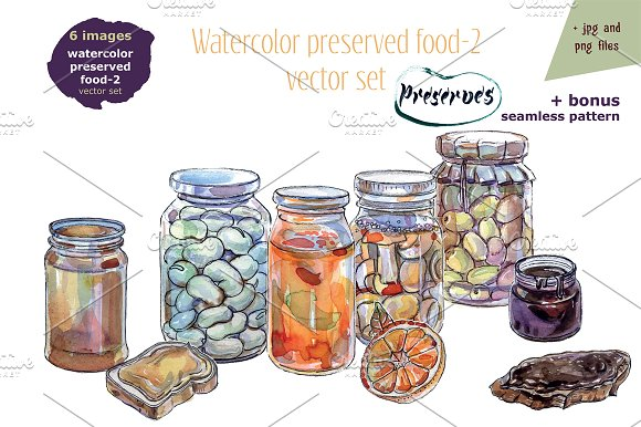 Watercolor preserved food-2