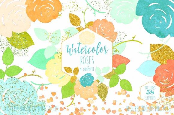 Chic Watercolor Floral Graphic Set